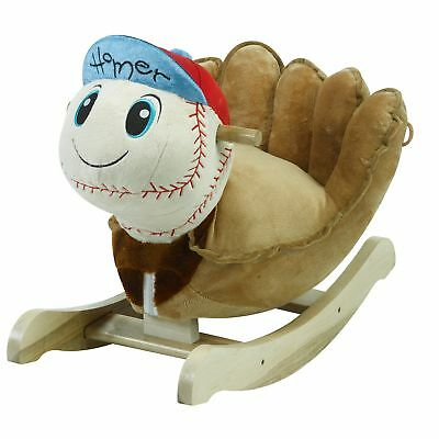 Homer Baseball Rocker Horse Plush Butterfly Baby Toy with Wooden Rocking Chiar