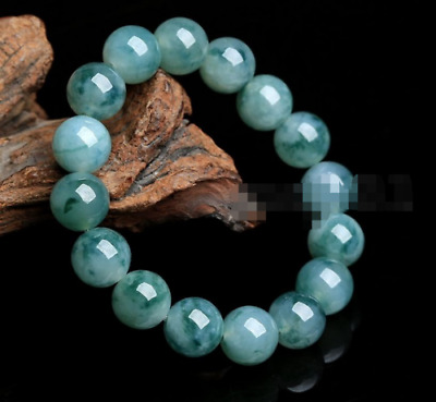AAA 100% Natural Grade Green Jade Round Gemstone Beaded Elastic Bracelet Bangle