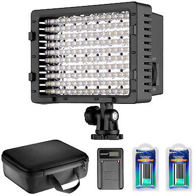 Dimmable 216 LED Video Light Panel Lighting with 2 Batteries and Charger