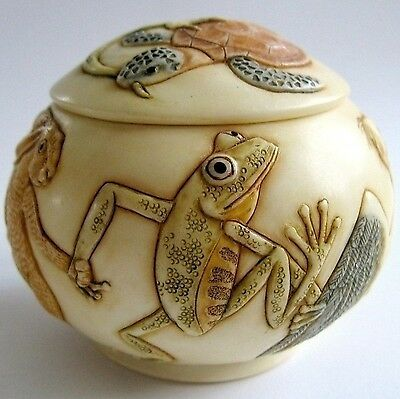 MPS Harmony Kingdom - Jardinia: Animal Bird Fish Frog Lizard Turtle, Trinket Pot
