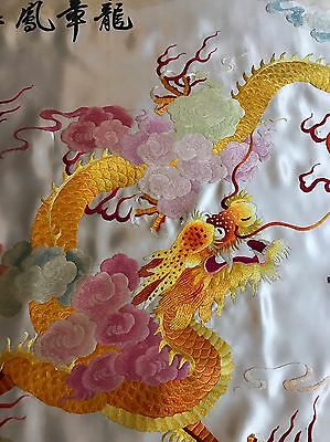 """Antique Chinese+Japanese Wall Hanging Hand Embroidery Silk Art Textile 27""""By46"""""""
