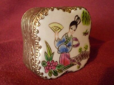 Stunning Antique Style Japanese Porcelain Top & White Metal Patch Box