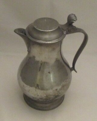 Fine French Pewter Beer / Wine Jug by Leclerc Humbert 1865