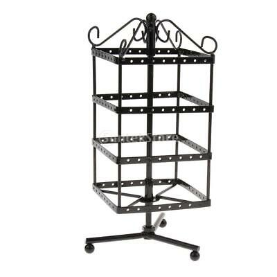 128-Hole Earrings Jewelry Rotating Display Stand Rack Holder Organizer Black