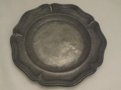 19th Century French Pewter Side Plate / Platter - Gadrooned Edge