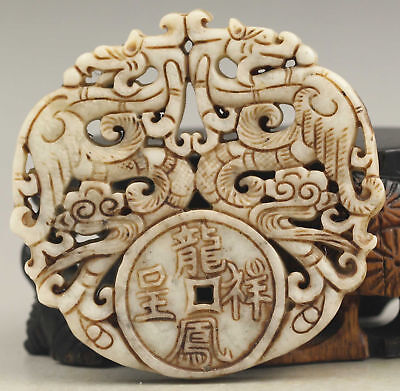 100% Old Chinese jade hand-carved double dragon pendant