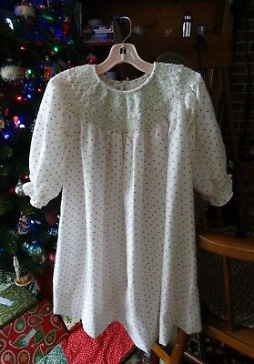 Vintage 1988 hand smocked girl's pink rosebud print flannel nightgown Size 4?