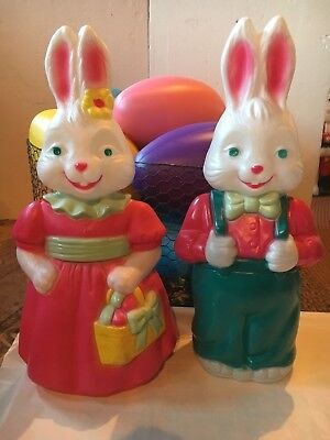 Blow Mold Mr And Mrs Easter Bunny Rabbits General Foam New