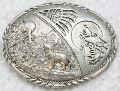 Vintage Belt Buckle Howling Wolves Metal Wolf Silver Gray Antique Nature Trees