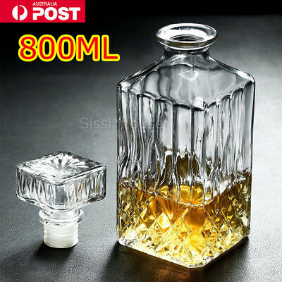 800ml Vintage Decanter Glass Liquor Whiskey Wine Crystal Bottle Carafe Stopper A