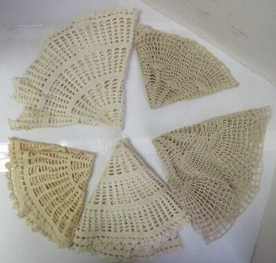 Lot of 5 - Vintage Cotton Crochet Handmade Doilies