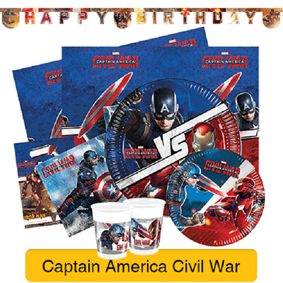 Marvel CAPTAIN AMERICA CIVIL WAR Birthday PARTY RANGE Tableware Supplies (1C)