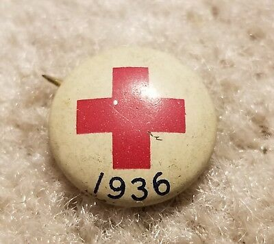 Vintage 1936 Red Cross Button Pin Back