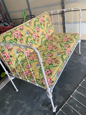 Antique Victorian Cast Iron Day Bed Crib Frame Shabby
