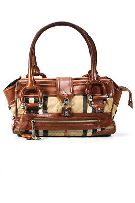 81ffa6be682e Burberry Women Satchel Handbag Brown Leather Nova Check Plaid Gold Tone  Hardware