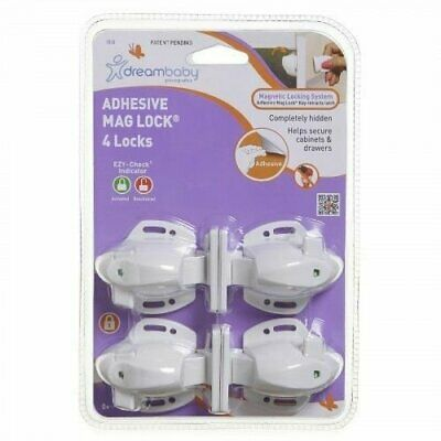 Dreambaby 4 Adhesive Mag Locks - Child Safety Magnetic Cabinet Door L858
