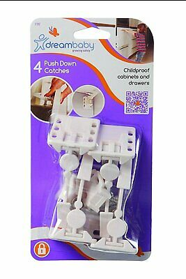 Dreambaby Cabinet Drawer Door Push Down L Child Safety Catches Locks 4 pk - L197