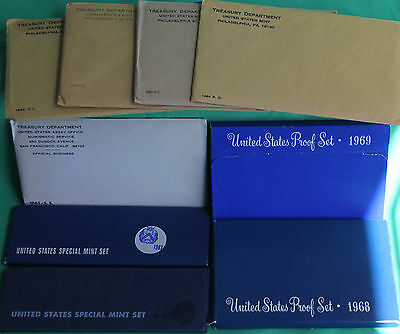 1960 - 1969 TEN Annual United States Mint Proof Sets 50 Coins Lot of 10 Years