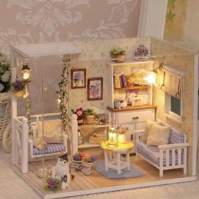 Doll House Miniature DIY Room With Furniture 1:24 scale free shipping
