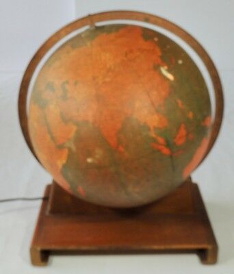 "Rand McNally 12"" Lighted Indexed Terrestrial Globe W/Book Holder Wood Base VGC"