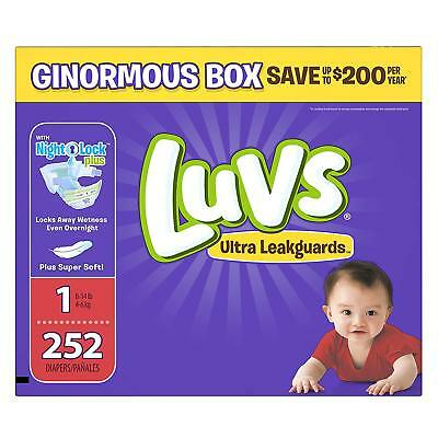Luvs Ultra Leakguards Disposable Baby Diapers Newborn Size 1, 252 Count, ONE MON