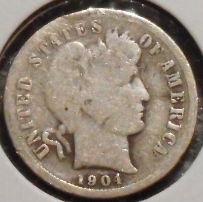 Barber Dime - 1904-S - Historic Silver! - $1 Unlimited Shipping