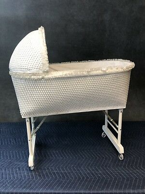 Vintage WHITE WICKER CRIB baby bassinet doll cradle french chic nursery rolling