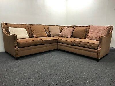 RUSTIC BROWN FABRIC Sectional Sofa - Floor Sample Special ...