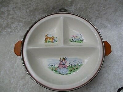 Vintage Child's Little Bo Peep Divided Warming Serving Bowl/Dish