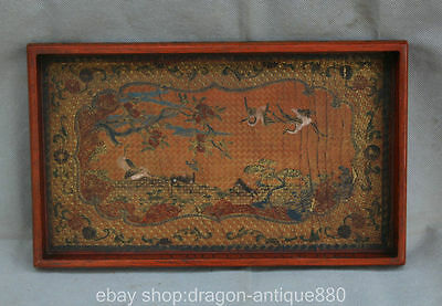 """7 """"Qianlong Marked Chinese Lacquerware Dynasty Palace Crane Plate Tray Dish"""