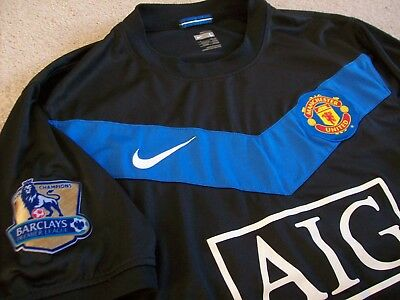 Manchester United Blue Away Shirt 2009-2010 + Champions Patches (Large) Nike