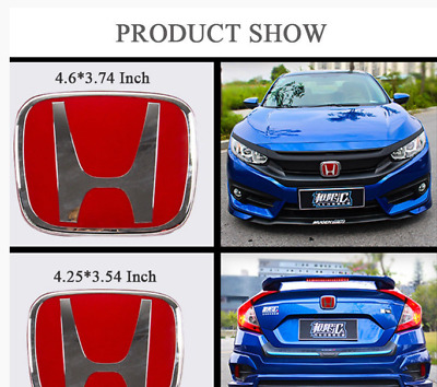 2016-2018 RED Front Rear Back Logo Emblem Badge Cover For Honda 10th Gen Civic