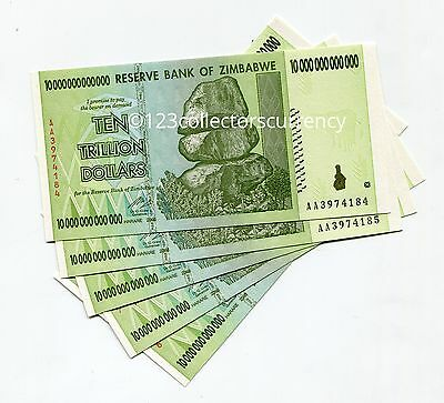 Zimbabwe 10 Trillion 2008 AA UNC x 5 Pieces Banknotes - $100 Trillion Series