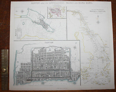 1853 Canton & Its Approaches Macao HONG KONG Original Antique MAP Knight