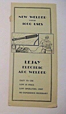Vintage Lejay Electric Arc Welder Advertising Manual ~ Minneapolis Chicago ~