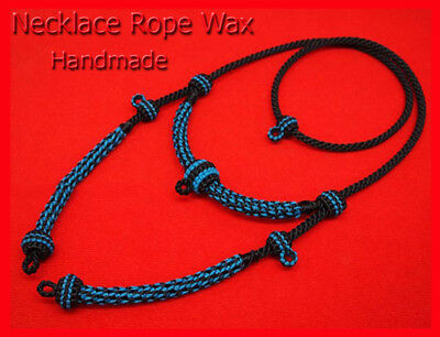 Thai Amulet Necklace Rope Wax Handmade Pendent Blue - Black 5 Hook Size 28 Inch