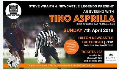An Evening With Tino Asprilla NEWCASTLE UNITED,7th April, 2 tickets, meal, photo