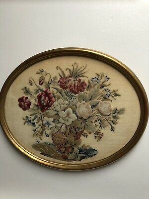 Antique Framed Tapestry Of Vase Of Flowers