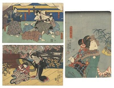 Original Japanese Woodblock Print, Ukiyo-e, Set of 3, Kabuki Actors, Stage, Play