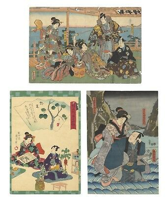 Original Japanese Woodblock Print, Ukiyo-e, Set of 3, Kabuki Scenes, Actors