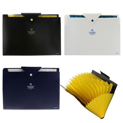 Plastic 12 Pocket Accordion Expanding File Folder Document / Paper Organizer