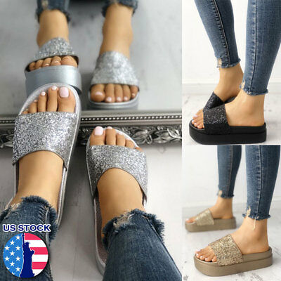 10e5c704b35c New Womens Diamante Slides Flat Summer Slip On Sandals Bling Flip Flops  Size US