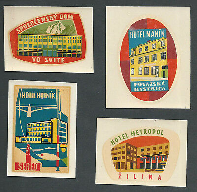 SLOVAKIA Classic – lot of 4 vintage luggage hotel labels (set1)