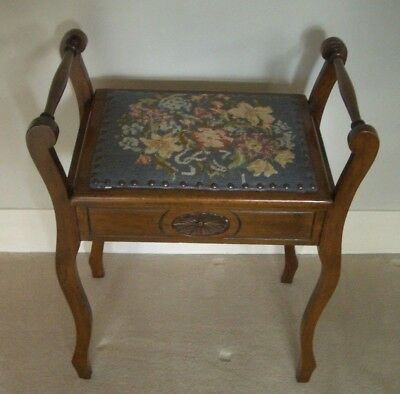 EDWARDIAN Piano Stool - Original Tapestry/Woolwork Seat with hinged Lift-up Top