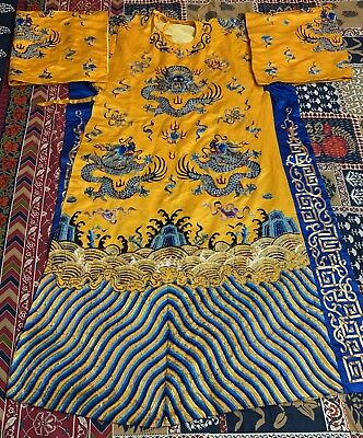 Antique Chinese Hand Embroidery Qing Dynasty Silk Dragon Robe Imperial Color