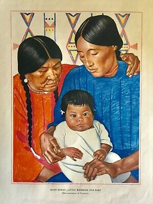 Lot 4 Winold Reiss prints, named Blackfoot Indians, copyright Great Northern Ry.