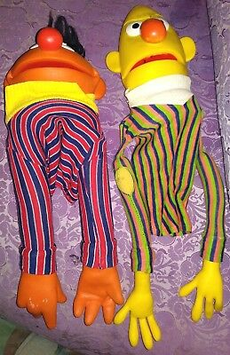 1970's Vintage Muppets Inc. Sesame Street Bert and Ernie Puppets 70's Toys