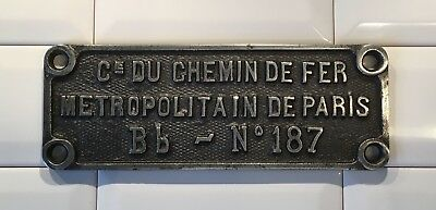"Plaque de constructeur Bb-N°187 ""Sprague-Thomson"" du métro de Paris CMP (RATP)"
