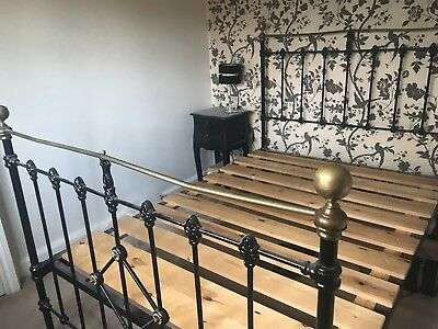 Genuine Victorian Brass and Cast Iron Standard Double Bed with Pine Slat Base