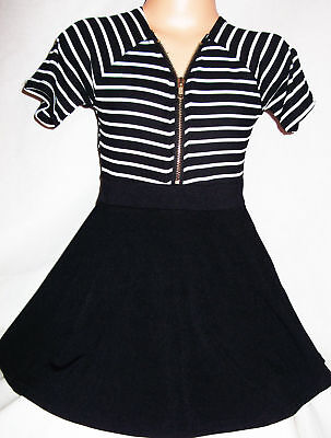 GIRLS BLACK & WHITE STRIPE ZIP FRONT SPORTY SHORT LENGTH PARTY DRESS age 3-4